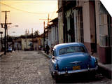 Cobbled Street at Sunset with Old American Car, Trinidad, Sancti Spiritus Province, Cuba Prints by Lee Frost