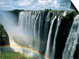 Waterfalls and Rainbows, Victoria Falls, Unesco World Heritage Site, Zambia, Africa Print by D H Webster