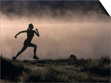 Silhouette of Woman Trail Running, CO Poster by Bob Winsett