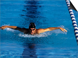 Swimmer Competing in a Butterfly Race Prints