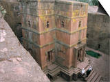 Looking Down on Entrance of Biet Giorgis, Rock Cut Christian Church, Lalibela, Ethiopia Art by David Poole