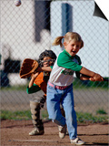 Little Girl Playing Softball Print by Bob Winsett