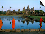 Monks in Saffron Robes, Angkor Wat, Unesco World Heritage Site, Siem Reap, Cambodia, Indochina Posters by Bruno Morandi
