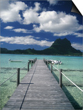 Scenic Dock off Motu Tapu, Bora Bora Poster by Barry Winiker