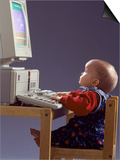 Baby Sitting at Desk Using Computer Poster by Kevin Leigh