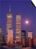 World Trade Center and Moon, NYC Kunstdrucke von Rudi Von Briel
