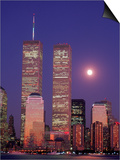 World Trade Center and Moon, NYC Prints by Rudi Von Briel