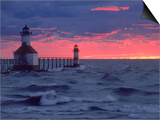 Sunset, Lighthouse, Benton Harbor, MI Plakater af Charles Benes