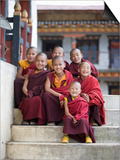 Group of Young Buddhist Monks, Karchu Dratsang Monastery, Jankar, Bumthang, Bhutan Print by Angelo Cavalli