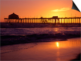 Ocean Pier at Sunset, Huntington Beach, CA Plakater af Charles Benes