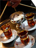 Hand Holding a Tray with Turkish Tea, Istanbul, Turkey, Europe Prints by Levy Yadid