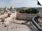 Tourists Praying at a Wall, Wailing Wall, Dome of the Rock, Temple Mount, Jerusalem, Israel Prints by  Panoramic Images