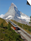 Gornergrat Railway in Front of the Matterhorn, Riffelberg, Zermatt, Valais, Swiss Alps, Switzerland Kunst af Hans-Peter Merten