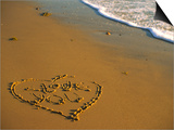 "Heart and ""Love You"" Carved Into Beach Sand with Tid Prints by Cindy Mcintyre"