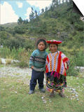 Two Children Near Machu Picchu, Peru, South America Poster af Oliviero Olivieri