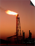 Gas Flare In Front of An Oil Refinery Prints by David Parker
