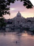 Skyline of St. Peter's from Ponte Umberto, Rome, Lazio, Italy Print by Adam Woolfitt