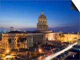 Capitolio Nacional Illuminated at Night, Central Havana, Cuba, West Indies, Caribbean Posters by Christian Kober