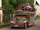 Jeepney Truck with Passengers Crowded on Roof, Coron Town, Busuanga Island, Philippines Art by Kober Christian