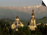 Zenkov Cathedral and Tien Shan Mountains, Almaty, Kazakhstan, Central Asia Prints by  Upperhall