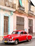 Restrored Red American Car Pakred Outside Faded Colonial Buildings, Havana, Cuba Prints by Lee Frost