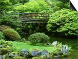 Footbridge, Japanese Garden Portland, Oregon Posters by Adam Jones