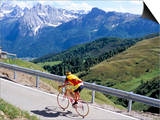 Cyclist Riding Over Sella Pass, 2244M, Dolomites, Alto Adige, Italy Posters by Richard Nebesky
