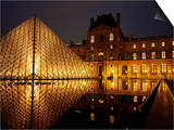 Musee Du Louvre and Pyramide, Paris, France Print by Roy Rainford