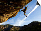 Climber Tackles Difficult Route on Overhang at the Cliffs of Margalef, Catalunya Posters af David Pickford