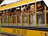 School Children Looking Out School Bus Windows Posters by Len Rubenstein