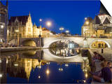 Reflection of Arched Bridge and Waterfront Town Houses, Ghent, Flanders, Belgium, Europe Prints by Christian Kober