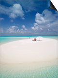 Woman Walking on a Sandbank, Maldives, Indian Ocean, Asia Prints by Sakis Papadopoulos