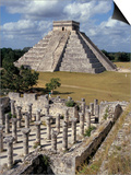 One Thousand Mayan Columns and the Great Pyramid El Castillo, Chichen Itza, Mexico Print by Christopher Rennie