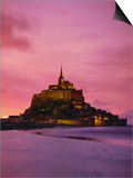 Mont Saint-Michel (Mont St. Michel) at Sunset, La Manche Region, Normandy, France, Europe Posters by Roy Rainford