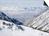 Salt Lake Valley and Fresh Powder Tracks at Alta, Alta Ski Resort, Salt Lake City, Utah, USA Prints by Kober Christian