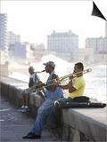 Musicians on the Malecon Playing Saxaphone and Trombone, Havana, Cuba Prints