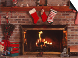 Fireplace with Christmas Stockings Prints by Christine Lowe