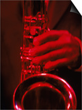 Close-up of Man Playing Saxophone in Jazz Club Print by Gary Conner