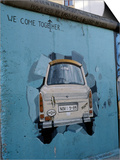 A Trabant Car Painted on a Section of the Berlin Wall Near Potsdamer Platz, Mitte, Berlin, Germany Art by Richard Nebesky