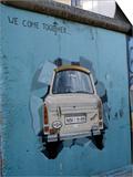 A Trabant Car Painted on a Section of the Berlin Wall Near Potsdamer Platz, Mitte, Berlin, Germany Art by Richard Nebesky