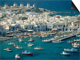 Aerial of the Harbour and Mykonos Town with Windmills in the Background, Greece Prints by Fraser Hall