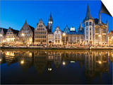 Night Time Reflection of Waterfront Town Houses, Ghent, Flanders, Belgium, Europe Posters by Christian Kober
