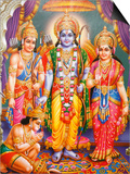 Picture of Hindu Gods Laksman, Rama, Sita and Hanuman, India, Asia Prints by  Godong