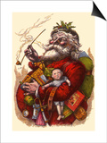 Santa Holds Armful of Toys, 1880 Poster by Thomas Nast