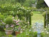 Rose Garden with Wooden Trellis, Little Malvern Court Worcester Prints by Mark Bolton