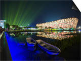 Night Time Light Show at the Birds Nest Stadium During the 2008 Olympic Games, Beijing, China Prints by Kober Christian