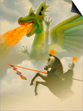 Businessman-Knight Fighting Dragon Posters by Carol & Mike Werner