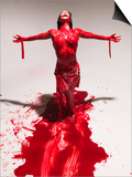 Caucasian Woman Covered in Blood Prints by Jim McGuire