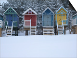 Beach Huts in the Snow at Wells Next the Sea, Norfolk, England Prints by Jon Gibbs