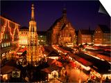 Christmas Fair at Night, Nurnberg, Germany Prints by David Ball